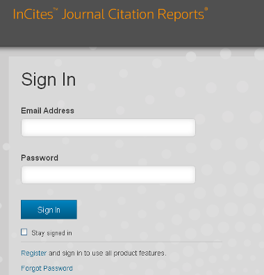 Sign in Journal Citation Reports